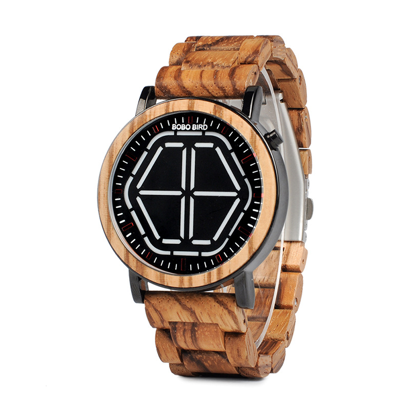 Exquisite Men's Wooden Led Display Digital & Night Vision Timepieces; 4 colors Available