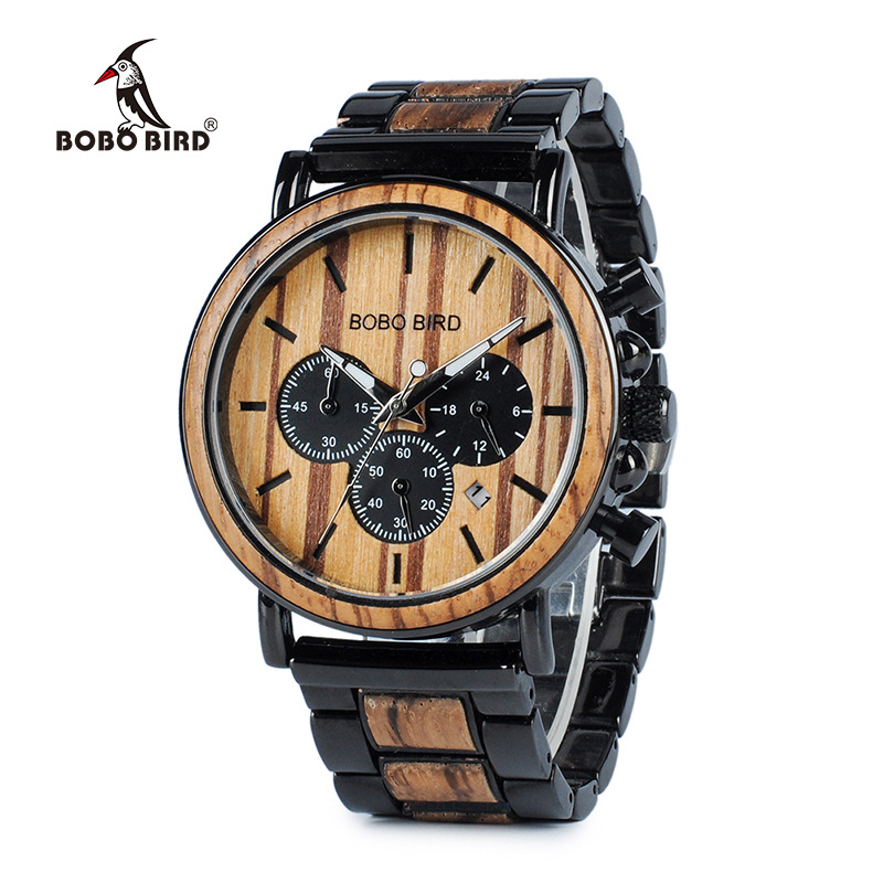 Unisex Wood and Stainless Steel; Quality Luminous Quatz Chronograph Watch
