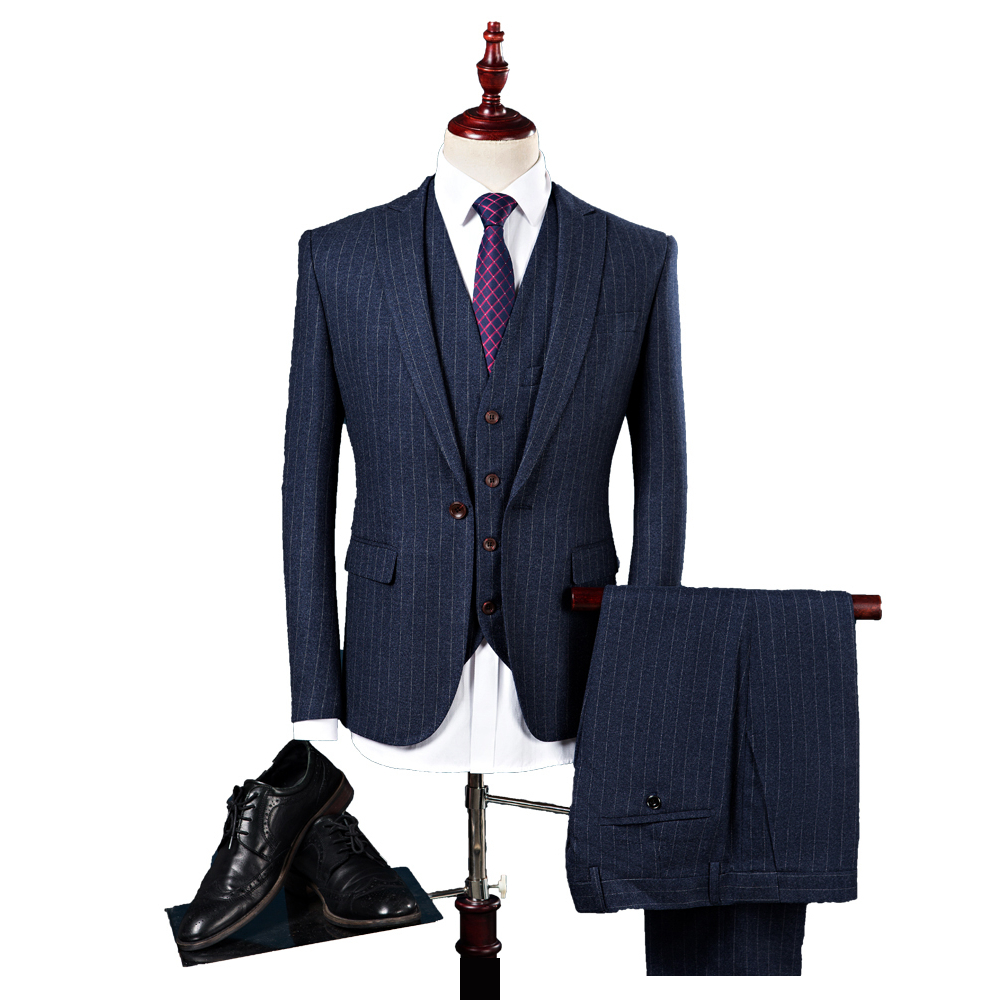 Classy Striped 3 Piece Grooms Luxury Wedding Suit